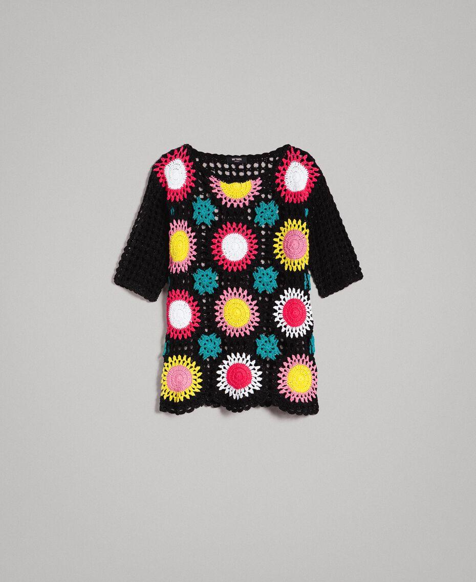 Häkelpullover mit Lurex Multicolour Schwarze Blumen Häkelei Frau 191MT3051-0S