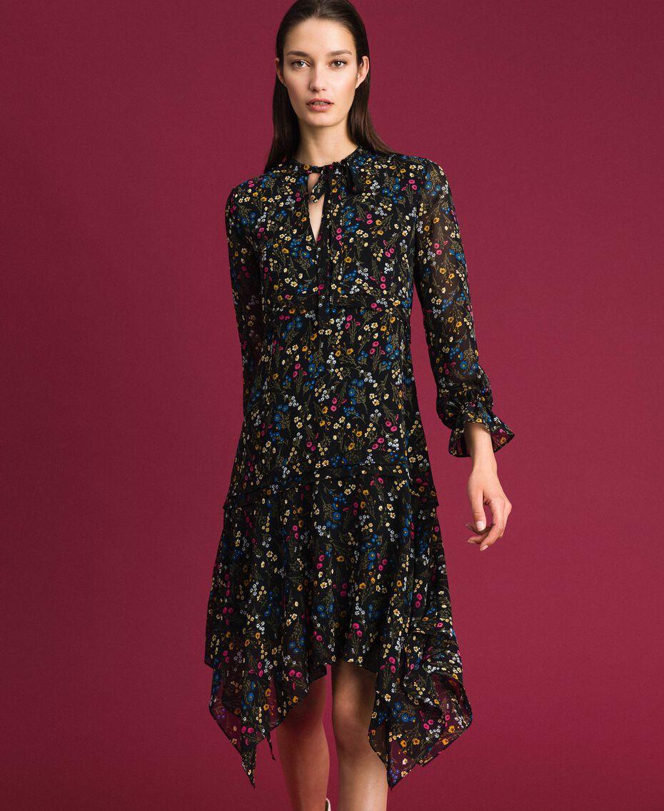Asymmetric floral print dress Black Micro flower Print Woman 192MP2226-01
