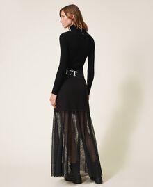 Falda larga con tul Negro Mujer 202LI2NMM-04