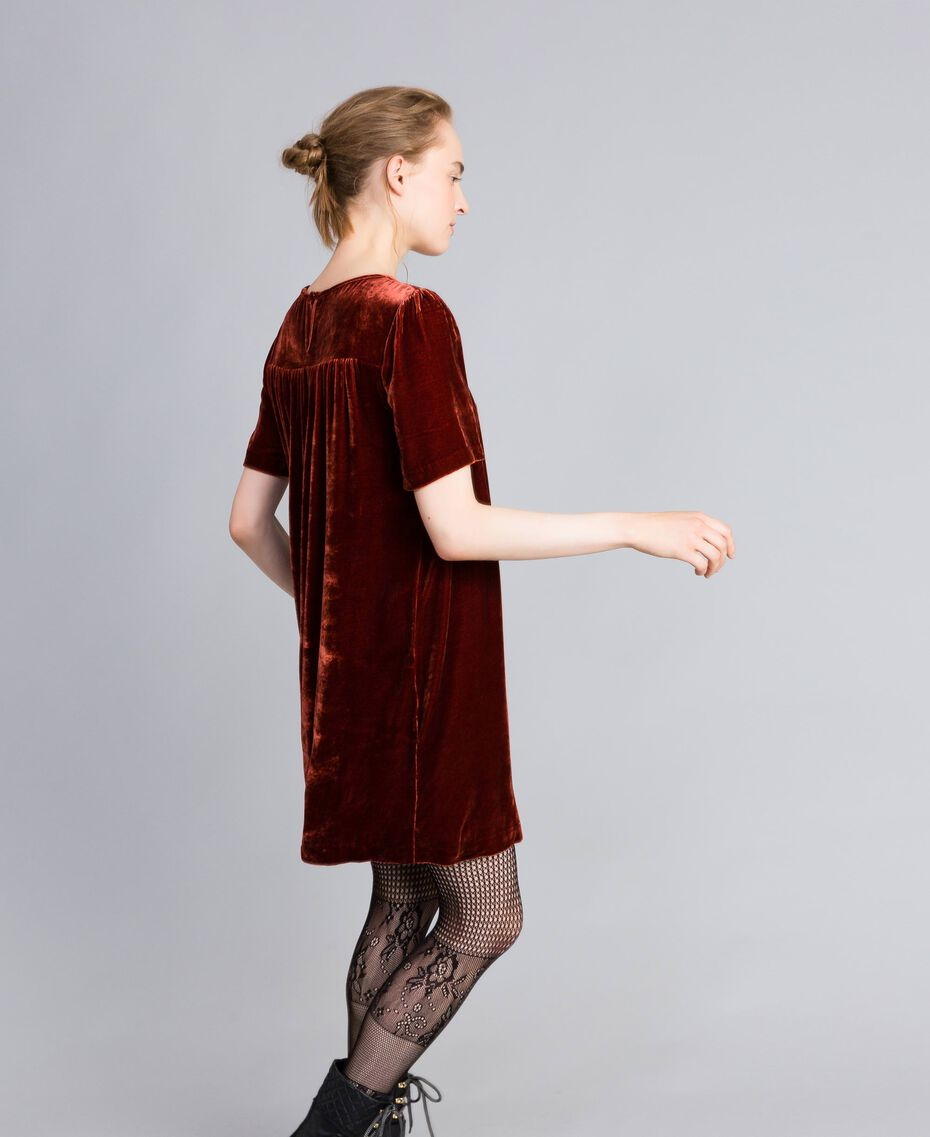 Vestido tipo túnica de terciopelo Bordeaux Mujer PA823B-02