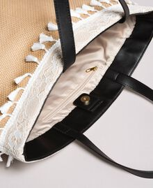 "Beach bag with lace and mini tassels ""Milkway"" Beige Woman 191LB4ZLL-05"