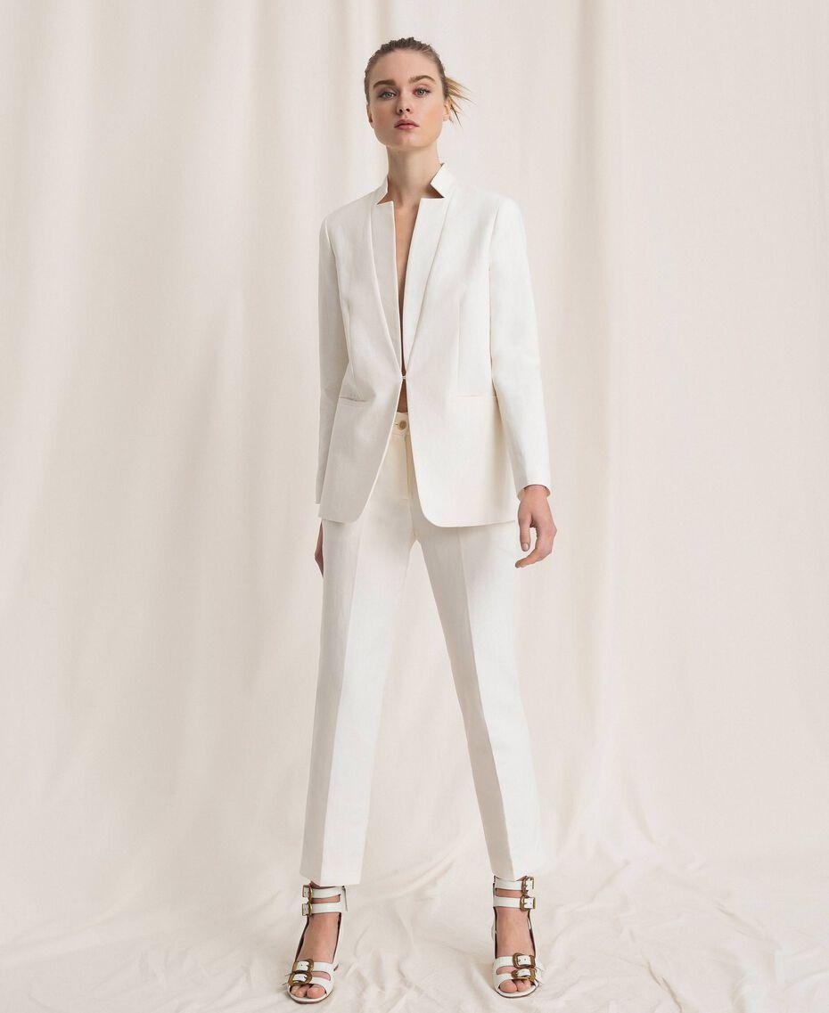 Linen blend blazer White Snow Woman 201TP2252-01