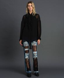 Bell bottom jeans with lace Denim Blue Woman 192MT2450-0T