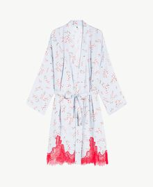"Satin dressing gown ""Fairy Blue"" Microflower Print Woman LS8BHH-01"
