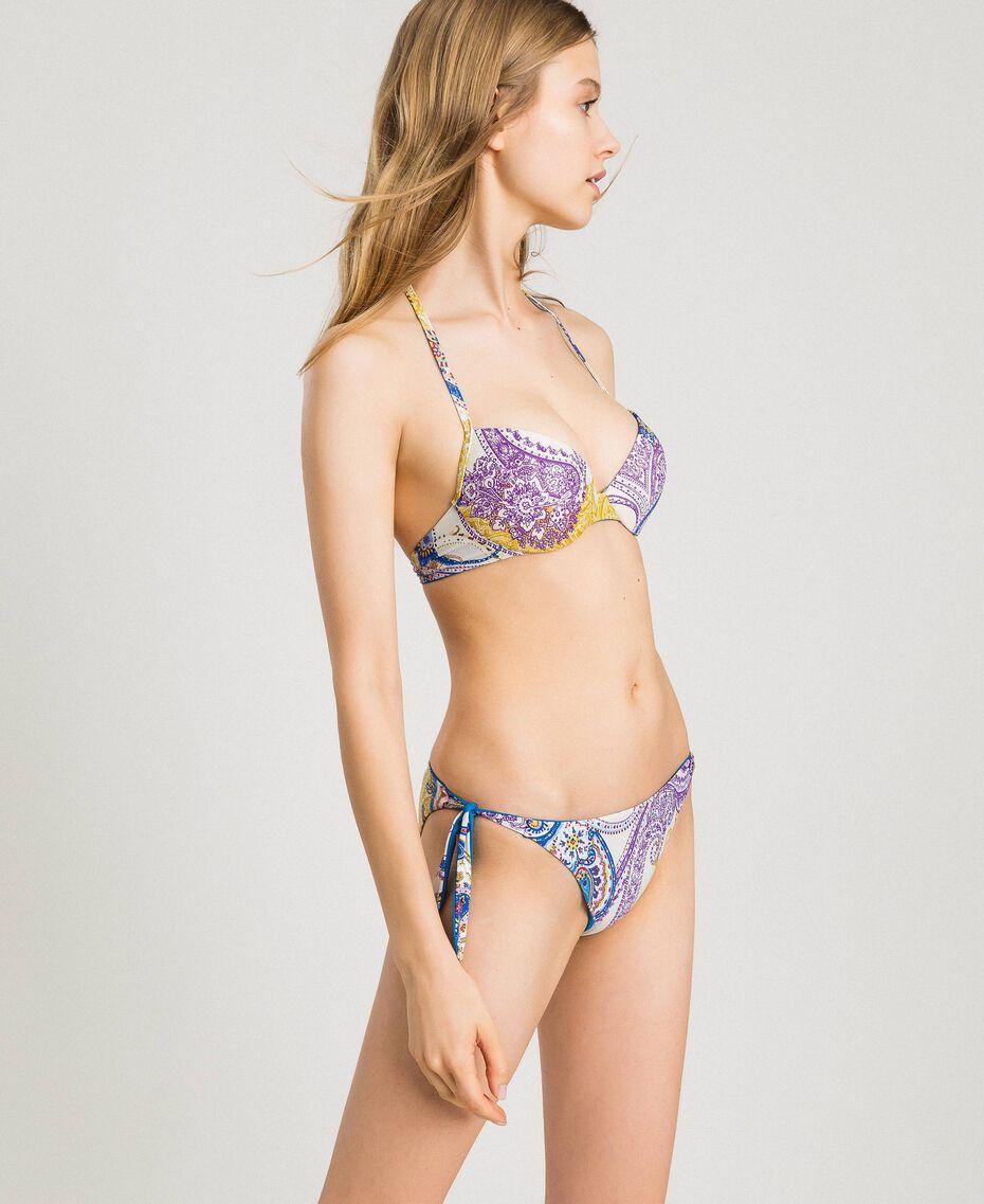 """Bas de bikini tanga avec imprimé paisley Imprimé Paisley / Beige """"Voie Lactée"""" Femme 191LMMS77-02"""