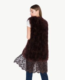 Long fur waistcoat Dark Brown Female PA72RN-02