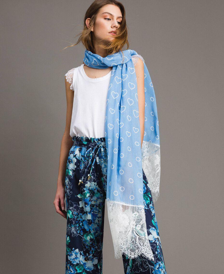 Pañuelo con estampado y encaje Azul Aciano Mujer 191MA4305-0S
