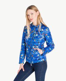 Daunenjacke mit Print Multicolor-Blumen Lapislazuliblau Frau JS82BA-02