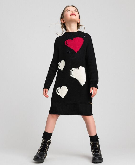 Knitted dress with inlaid hearts