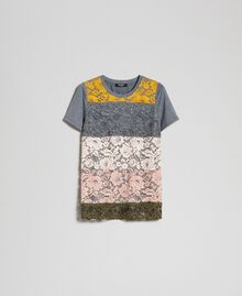 T-Shirt mit Color-Block-Spitze Spitze mehrfarbig Frau 192MP2294-0S