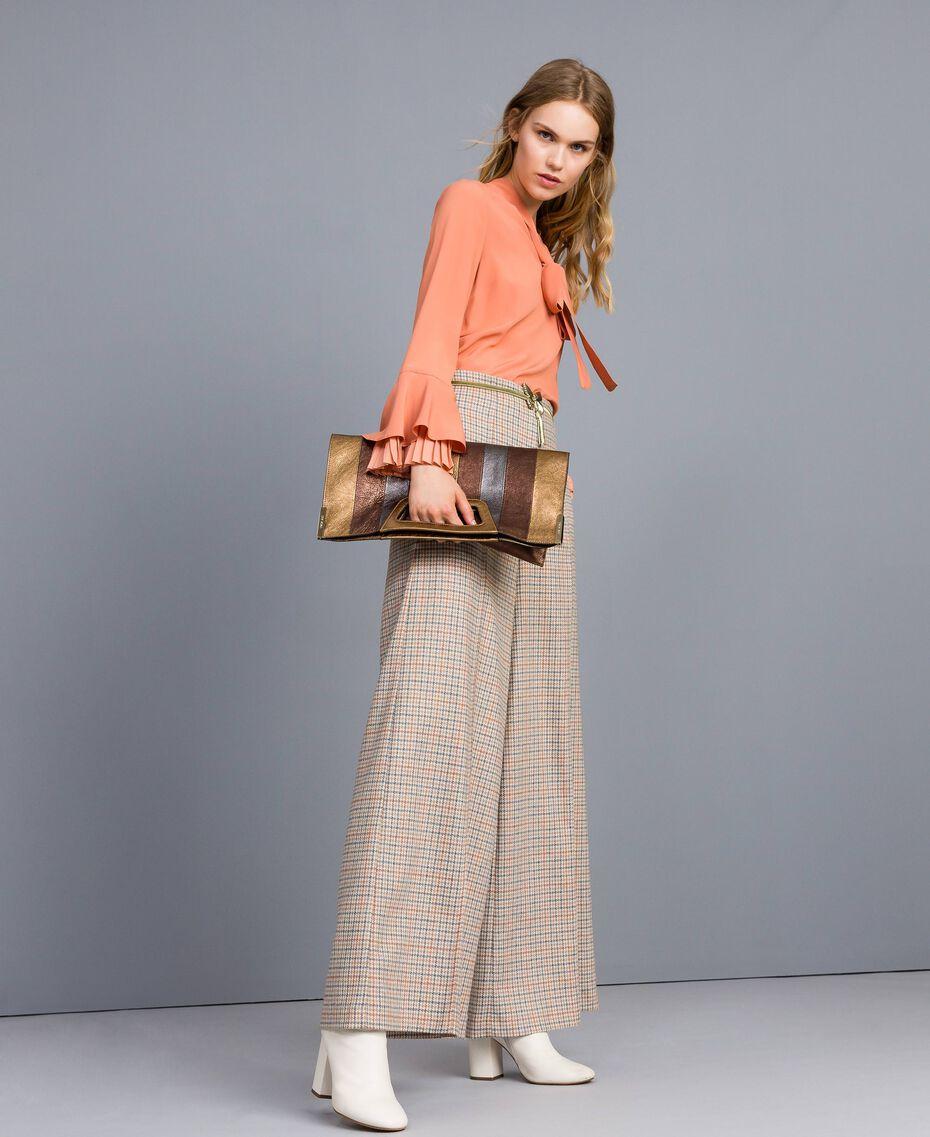 Check flannel palazzo trousers Multicolour Check Woman TA8214-0T
