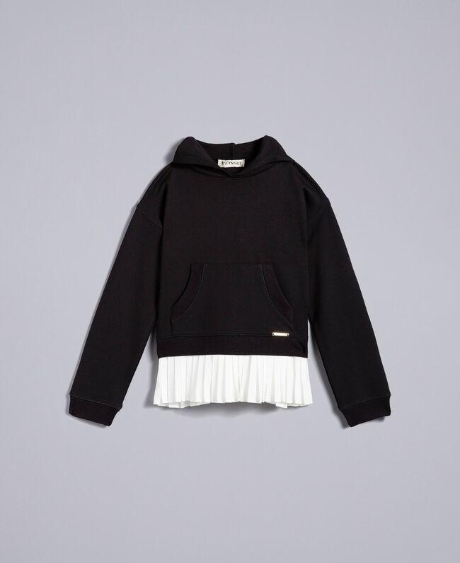 Sweat en point de Milan avec finition plissée Bicolore Noir / Blanc Cassé Enfant GA82FP-01