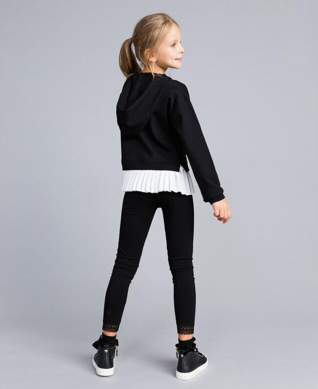 Sweat en point de Milan avec finition plissée Bicolore Noir / Blanc Cassé Enfant GA82FP-03