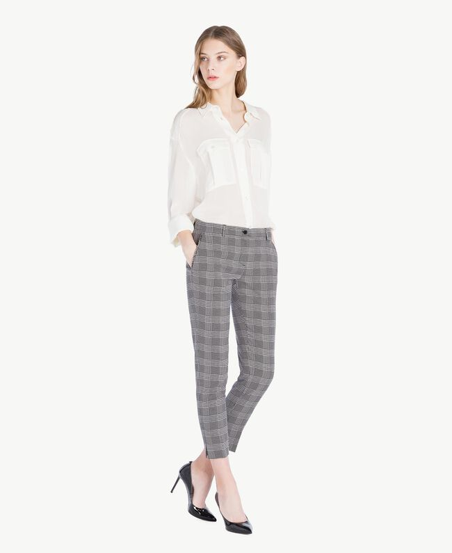 Check drainpipe trousers Jacquard Gingham Woman PS827P-05