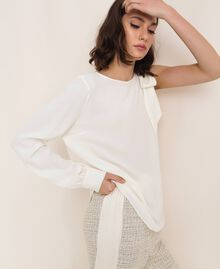 One-shoulder silk blouse White Snow Woman 201TP2500-04