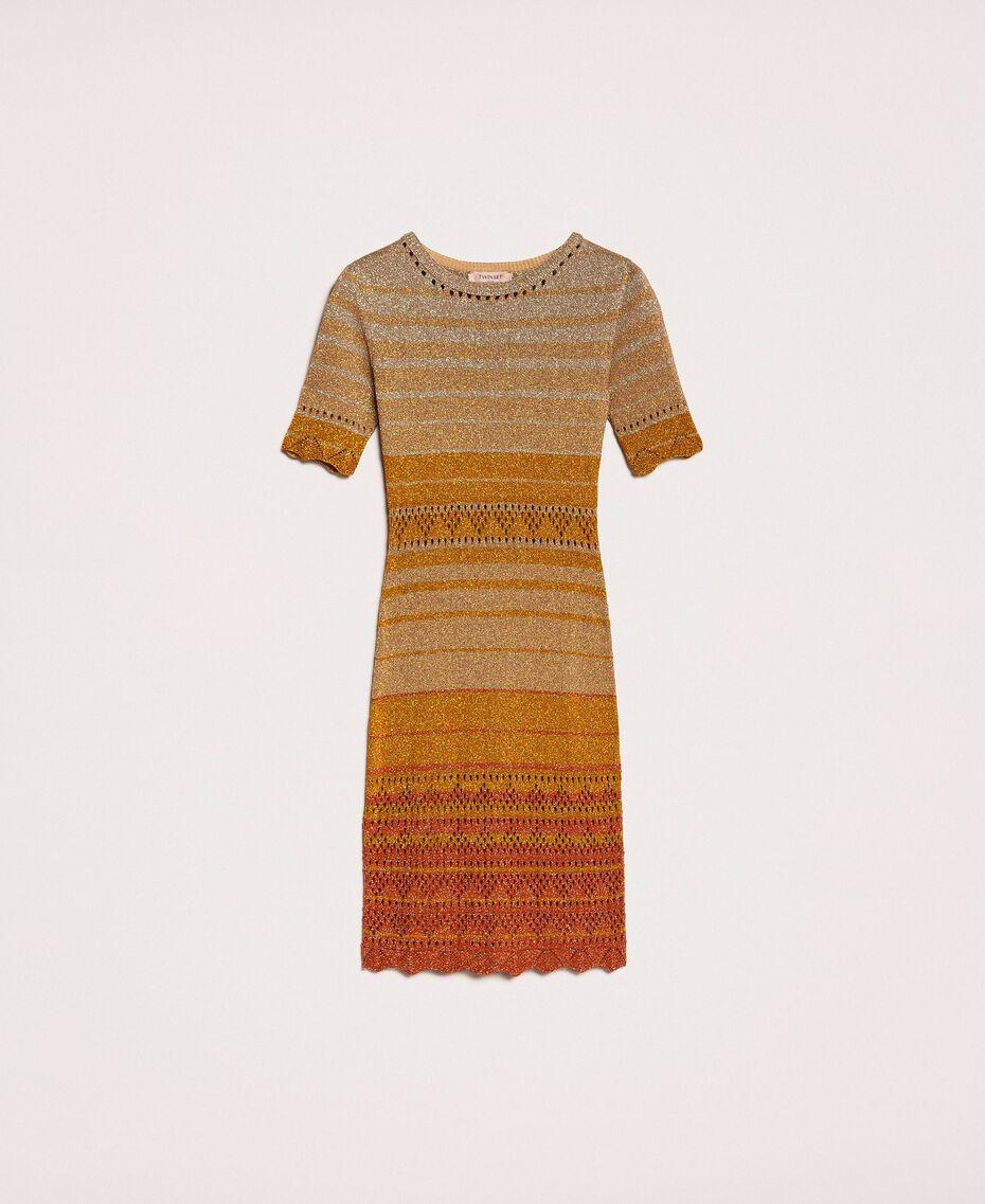 Striped lurex yarn dress Multicolour Gold Stripes Woman 201TT3090-0S