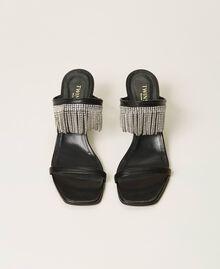 Кожаные босоножки с бахромой из стразов Черный женщина 211TCT030-05