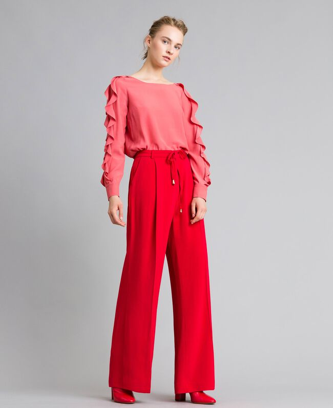Weite Hose aus Cady Rot Mohn Frau PA825D-01