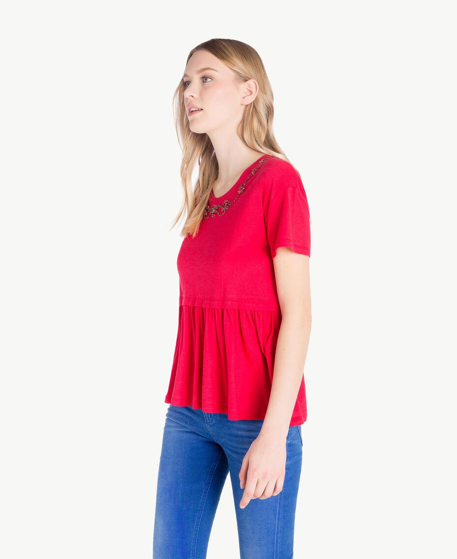 Embroidered maxi T-shirt Vermilion Red Woman JS82RE-02