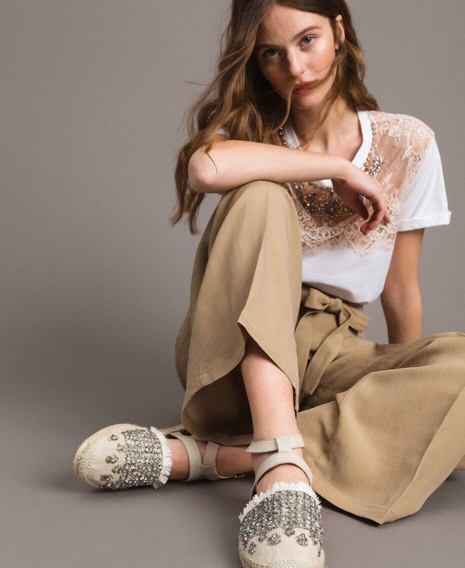 """Pantalon en lin Marron """"Désert Froid"""" Femme 191TT230A-05"""