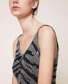 Vestido lencero con lentejuelas animal print Gris Cañón de fusil Mujer 202TP3150-04