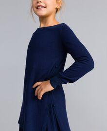 Strickkleid und Unterkleid aus Jersey Blackout Blau Kind GA83B2-04