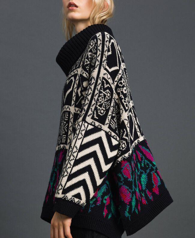 "Wool blend jacquard jumper ""Snow"" White Jacquard/ Black Woman 192TT3160-04"