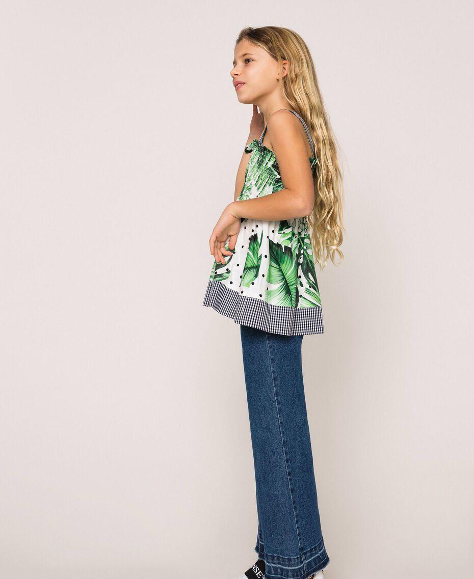 Jeans wide leg con cintura Bicolor Denim Medio / Vichy Bambina 201GJ2011-02