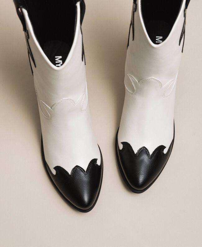 Ковбойские сапоги из двухцветной искусственной кожи Двухцветный Лилия / Черный женщина 201MCP050-01