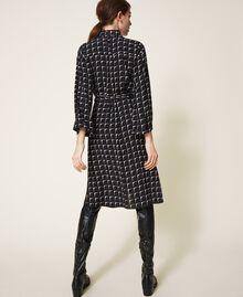 "Printed crêpe de Chine shirt dress Black /""Nude"" Beige Optical Print Woman 202ST2501-03"