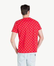 "Polka dot T-shirt ""Geranium"" Red Man US8253-03"