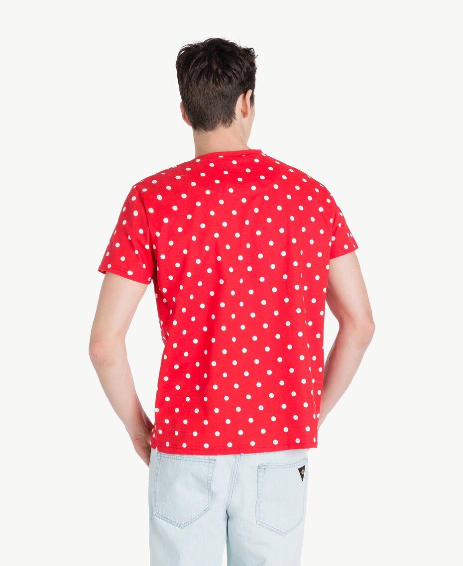 T-Shirt mit Tupfen Geranienrot Mann US8253-03