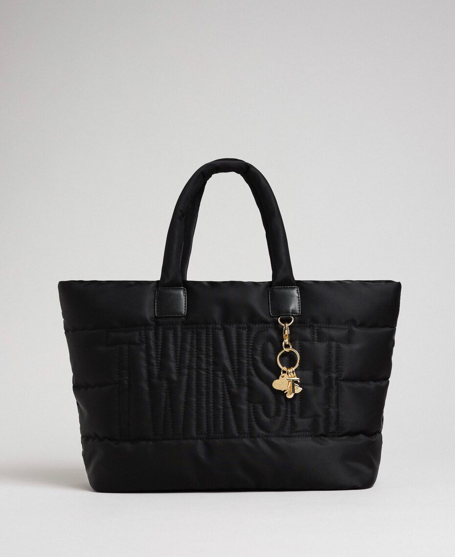 Quilted shopper with charms Black Woman 192TO8060-03