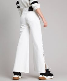 Wide leg jeans with slits White Cream Woman 191MP2500-03