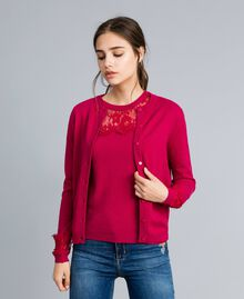 "Wool and cashmere mandarin collar top with lace ""Azalea"" Fuchsia Woman TA83AJ-03"