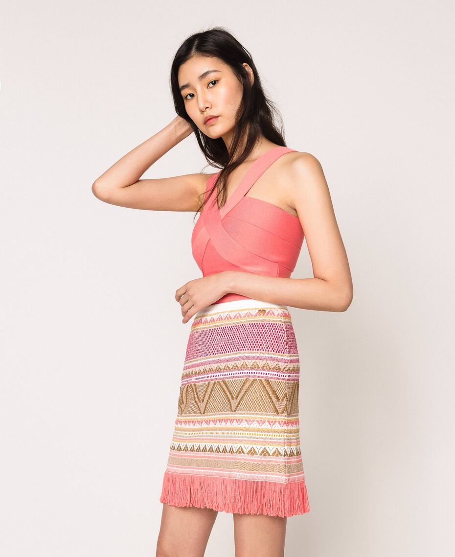 Short skirt with fringes Multicolour Pink Jacquard Woman 201TT3163-02