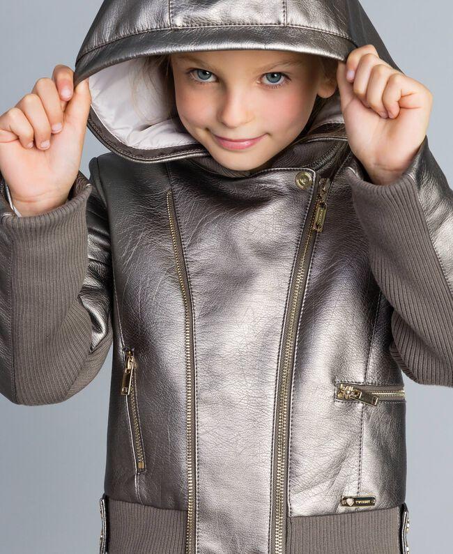 Jacke aus Metallic-Lederimitat Olive Kind GA82BN-04