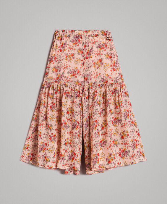 Jupe-pantalon à fleurs en georgette