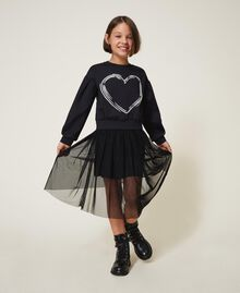 Scuba sweatshirt with heart Black Child 202GJ2702-04