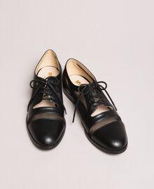 Туфли на шнурках из искусственной кожи и сетки Черный женщина 191MCP094-01