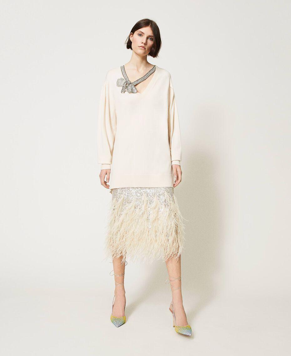 Maxi maglia con fiocco gioiello Bianco Neve Donna 211TQ301A-01