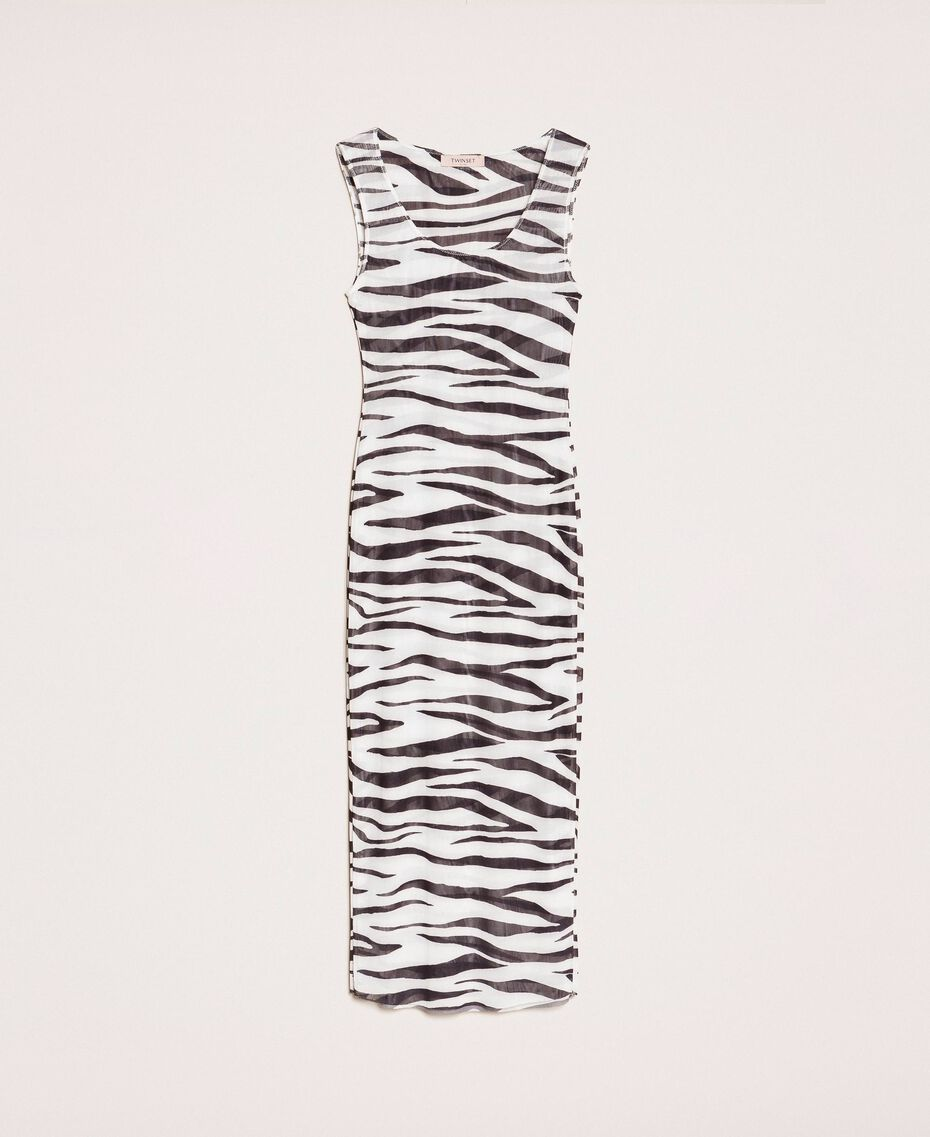 Animal print tulle sheath dress Zebra Print Woman 201TQ201D-0S