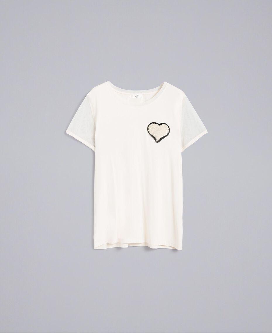 T-Shirt aus Jersey mit Stickerei Weiß Frau IA86KK-0S