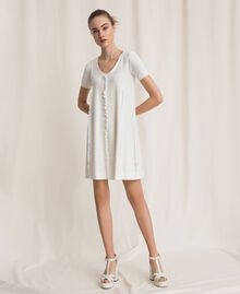 Dress with stitching and frills White Woman 201ST3066-02