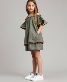 Robe en coton avec mini médailles Vert Toundra Enfant 191GJ2073-02