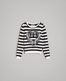 "Frayed heart striped top ""Snow"" White / Black Stripe Woman 191TP3010-0S"