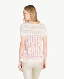 Openwork lurex jumper Pale Ecru Woman PS836C-03
