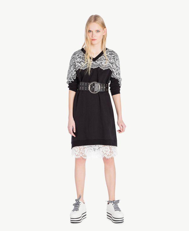 Kleid mit Spitze Schwarz Frau JS82H4-05