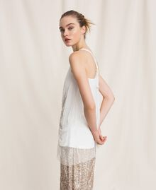 Long tulle top with sequins Ivory Woman 201LB21MM-02