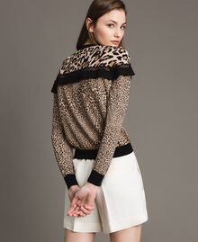 Animal print top with lace Mixed Animal Print Woman 191TP3413-03